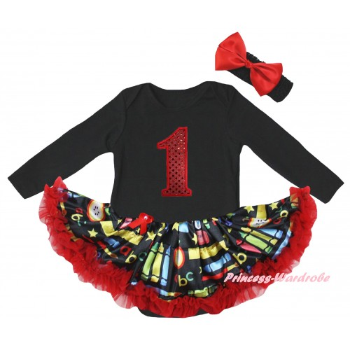 Black Long Sleeve Baby Bodysuit Red Stationery Pettiskirt & 1st Red Sequins Birthday Number Print JS6864