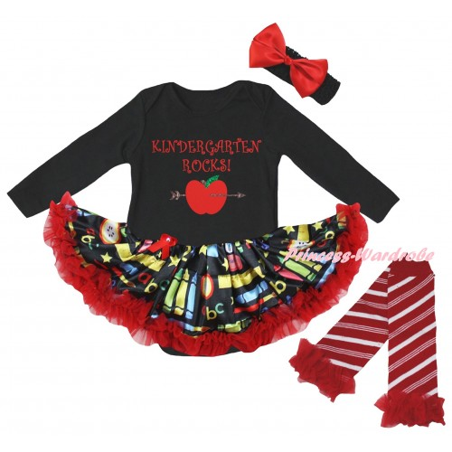 Black Long Sleeve Baby Bodysuit Red Stationery Pettiskirt & Kindergarten Rocks Painting & Warmers Leggings JS6877