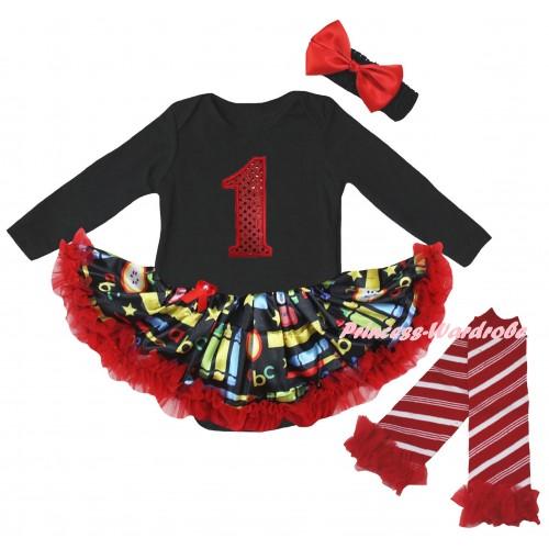 Black Long Sleeve Baby Bodysuit Red Stationery Pettiskirt & 1st Red Sequins Birthday Number Print & Warmers Leggings JS6878