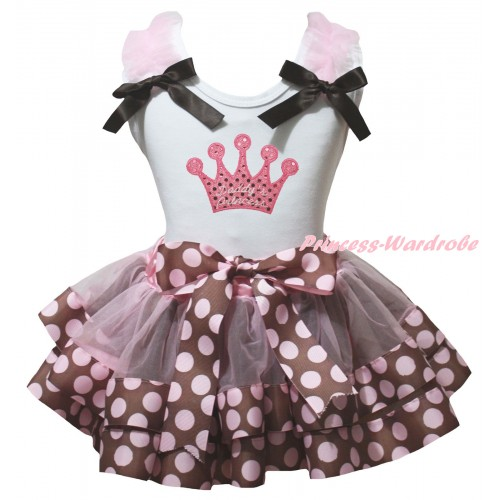 White Pettitop Light Pink Ruffles Brown Bows & Sparkle Pink Daddy's Princess Sequins Crown Print & Brown Pink Dots Trimmed Pettiskirt MG3136