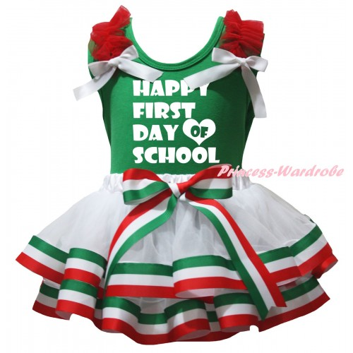 Green Pettitop Red Ruffles White Bows & Happy First Day Of School Painting & Red White Green Striped Trimmed Pettiskirt MG3166