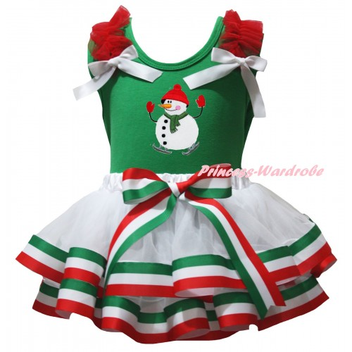 Green Pettitop Red Ruffles White Bows & Ice-Skating Snowman Print & Red White Green Striped Trimmed Pettiskirt MG3170