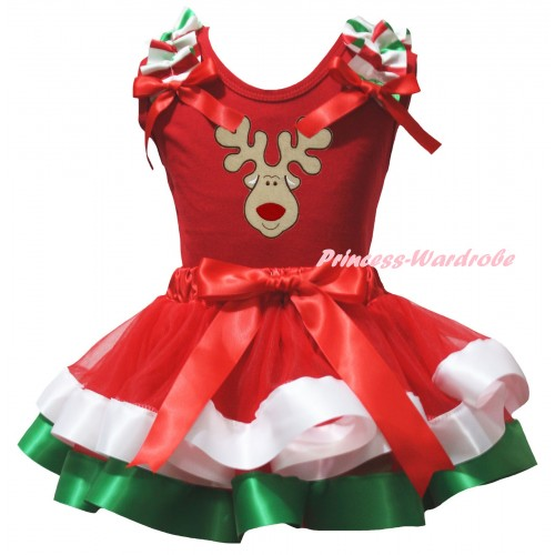 Christmas Red Pettitop Red White Green Ruffles Red Bows & Christmas Reindeer Print & Red White Green Trimmed Pettiskirt MG3181