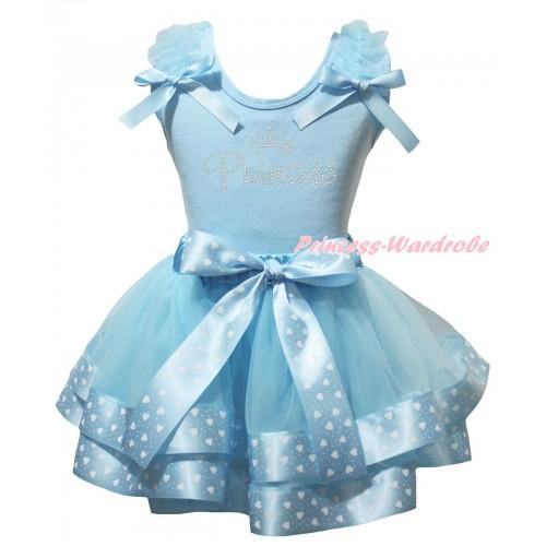 Light Blue Baby Pettitop White Heart Dots Ruffles Light Blue Bows & Sparkle Rhinestone Princess Print & Light Blue White Heart Dots Trimmed Newborn Pettiskirt NG2564