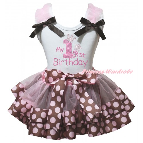 White Baby Pettitop Light Pink Ruffles Brown Bows & Sparkle Rhinestone My 1st Birthday Print & Brown Pink Dots Trimmed Newborn Pettiskirt NG2571
