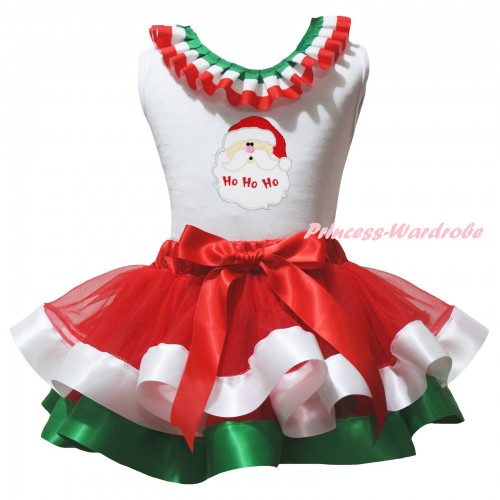 Christmas White Baby Pettitop Red White Green Lacing & Santa Claus Print & Red White Green Trimmed Newborn Pettiskirt NG2583