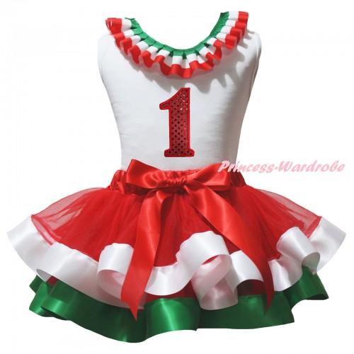 White Baby Pettitop Red White Green Lacing & 1st Sparkle Red Birthday Number Print & Red White Green Trimmed Newborn Pettiskirt NG2584