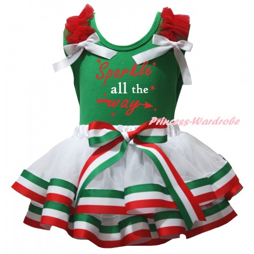 Green Baby Pettitop Red Ruffles White Bows & Sparkle All The Way Painting & Red White Green Striped Trimmed Newborn Pettiskirt NG2589