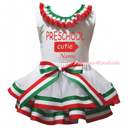 Personalize Custom White Baby Pettitop Red White Green Lacing & Preschool Cutie Painting & Red White Green Striped Trimmed Newborn Pettiskirt NG2593