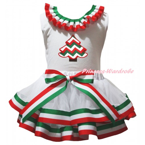 White Baby Pettitop Red White Green Lacing & Striped Christmas Tree Print & Red White Green Striped Trimmed Newborn Pettiskirt NG2596