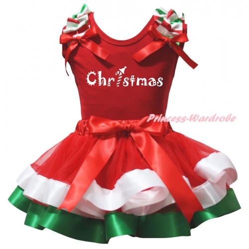 Christmas White Baby Pettitop Red White Green Lacing & Christmas Painting & Red White Green Striped Trimmed Newborn Pettiskirt NG2600