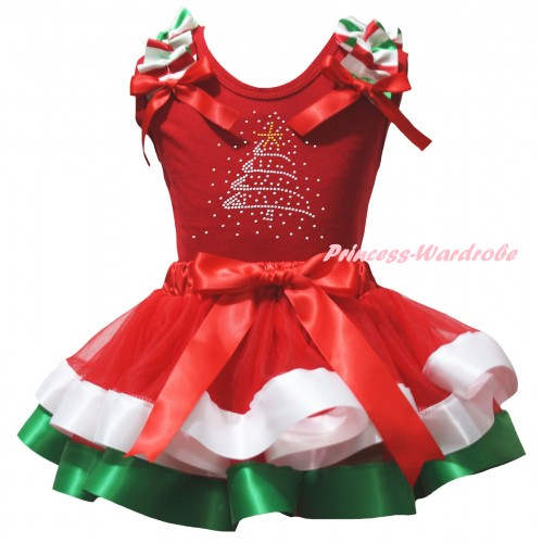 Christmas White Baby Pettitop Red White Green Lacing & Sparkle Rhinestone Christmas Tree Print & Red White Green Striped Trimmed Newborn Pettiskirt NG2603