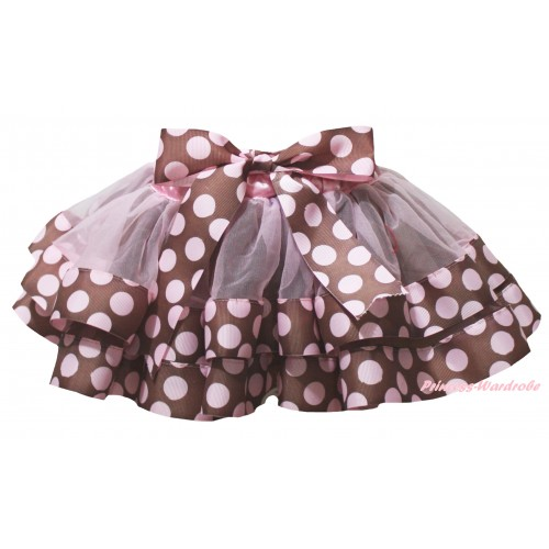 Brown Pink Dots Trimmed Full Pettiskirt & Bow P280
