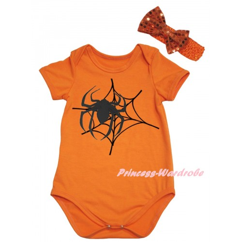 Halloween Orange Baby Jumpsuit & Spider Web Painting & Orange Headband Bow TH1054