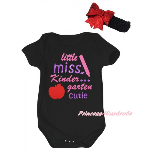 Black Baby Jumpsuit & Little Miss Kindergarten Cutie Painting & Black Headband Red Bow TH1056