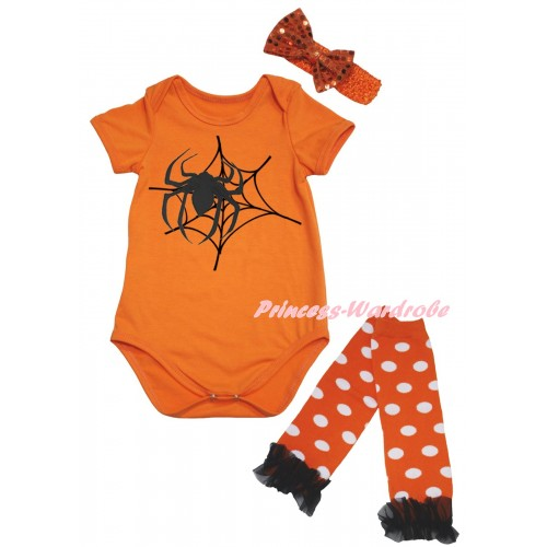 Halloween Orange Baby Jumpsuit & Spider Web Painting & Orange Headband Bow & Black Ruffles Orange White Dots Leg Warmer Set TH1072