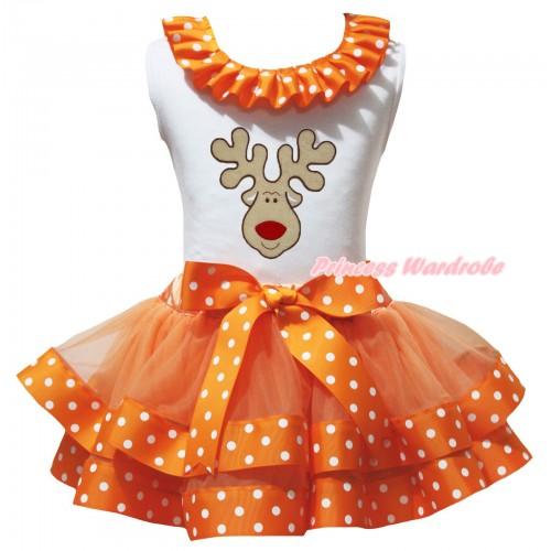 Christmas White Tank Top Orange White Dots Lacing & Christmas Reindeer Print & Orange White Dots Trimmed Pettiskirt MG3206