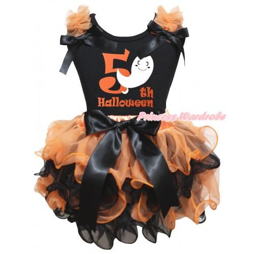 Halloween Black Tank Top Orange Ruffles Bows & Ghost 5th Halloween Painting & Orange Black Petal Pettiskirt With Black Bow MG3257