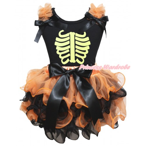 Halloween Black Tank Top Orange Ruffles Bows & Noctilucent Skeleton Painting & Orange Black Petal Pettiskirt With Black Bow MG3259