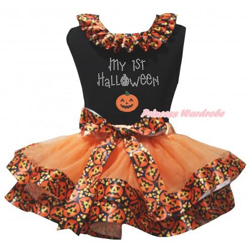 Halloween Black Pettitop Black Pumpkin Lacing & Sparkle Rhinestone My 1st Halloween Print & Orange Black Pumpkin Trimmed Newborn Pettiskirt NG2630