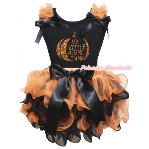 Halloween Black Pettitop Orange Ruffles Black Bows & Sparkle Orange My Little Pumpkin Painting & Orange Black Petal Newborn Pettiskirt With Black Bow NG2651