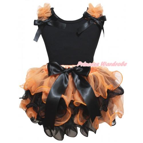 Black Pettitop Orange Ruffles Black Bows & Orange Black Petal Newborn Pettiskirt With Black Bow NG2656