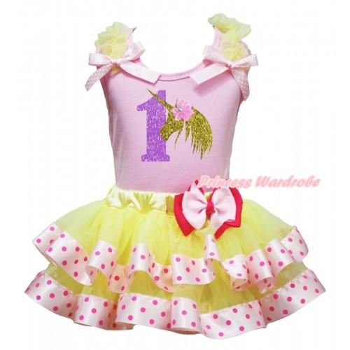 Halloween Light Pink Pettitop Yellow Ruffles Light Pink White Dots Bow & 1 Unicorn Painting & Light Hot Pink Bow Yellow Light Hot Pink Dots Satin Trimmed Tutu Newborn Pettiskirt NG2657