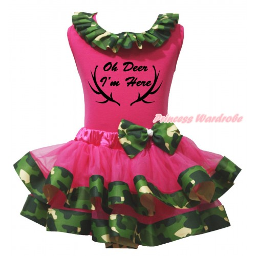 Christmas Hot Pink Pettitop Camouflage Lacing & Oh Deer I'm Here Painting & Hot Pink Camouflage Trimmed Newborn Pettiskirt NG2658