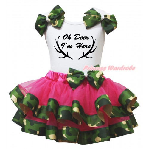 Christmas White Pettitop Camouflage Bows & Oh Deer I'm Here Painting & Hot Pink Camouflage Trimmed Newborn Pettiskirt NG2659