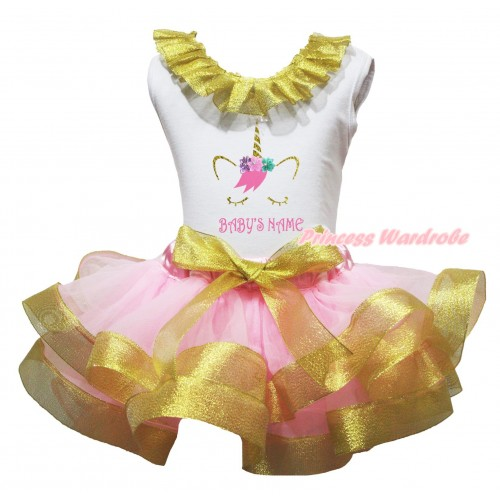 White Pettitop Sparkle Gold Lacing & Unicorn Baby Name's Painting & Light Pink Sparkle Gold Trimmed Newborn Pettiskirt NG2660