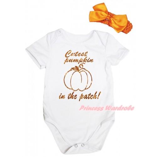 Halloween White Baby Jumpsuit & Sparkle Orange Cutest Pumpkin In The Patch! Painting & Orange Headband Orange Bow TH1074