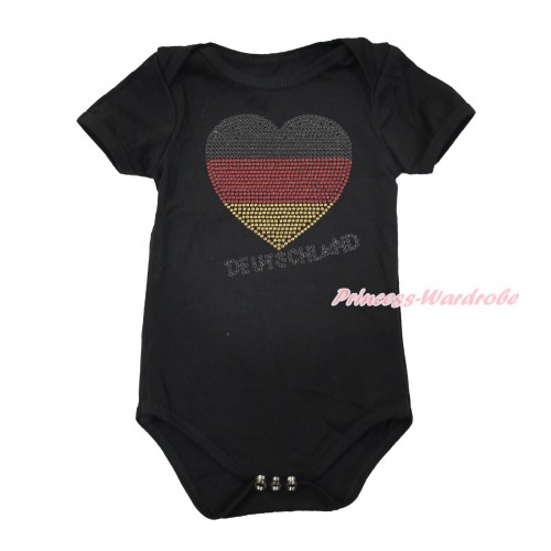 World Cup Black Baby Jumpsuit with Sparkle Crystal Bling Rhinestone Germany Heart Print TH499