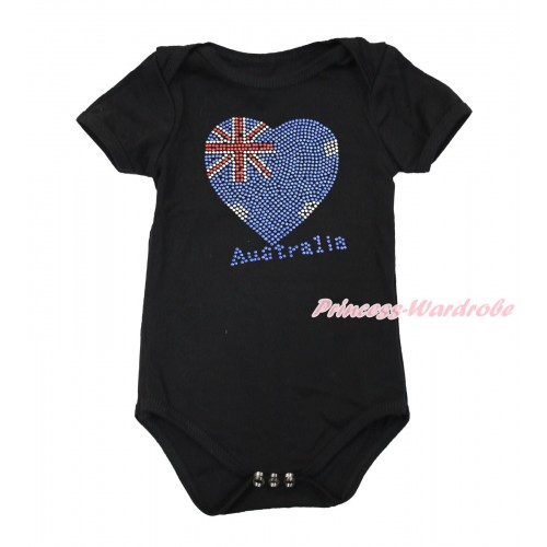 World Cup Black Baby Jumpsuit with Sparkle Crystal Bling Rhinestone Australia Heart Print TH500