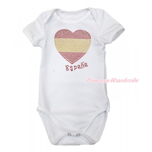 World Cup White Baby Jumpsuit with Sparkle Crystal Bling Rhinestone Spain Heart Print TH502