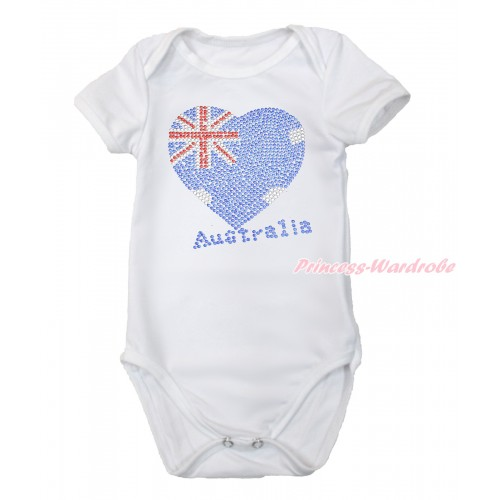 World Cup White Baby Jumpsuit with Sparkle Crystal Bling Rhinestone Australia Heart Print TH507