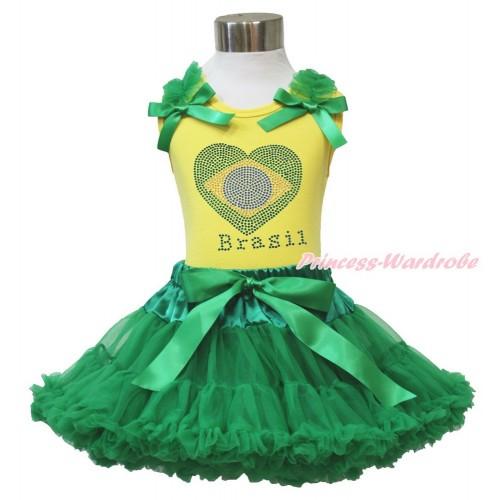 World Cup Yellow Tank Top Kelly Green Ruffles & Bow & Sparkle Crystal Bling Rhinestone Brazil Heart Print & Kelly Green Pettiskirt M593