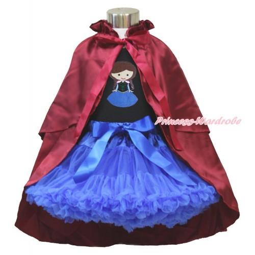 Frozen Anna Black Tank Top Light Blue Ruffles Sparkle Goldenrod Bow & Princess Anna & Royal Blue Pettiskirt & Raspberry Wine Red Satin Cape MG1245