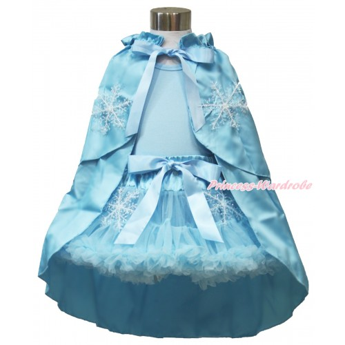 Frozen Elsa Light Blue Tank Tops with White Ruffles and Sparkle Silver Grey Bow & Light Blue Snowflakes Pettiskirt & Snowflakes Light Blue Satin Cape MH222