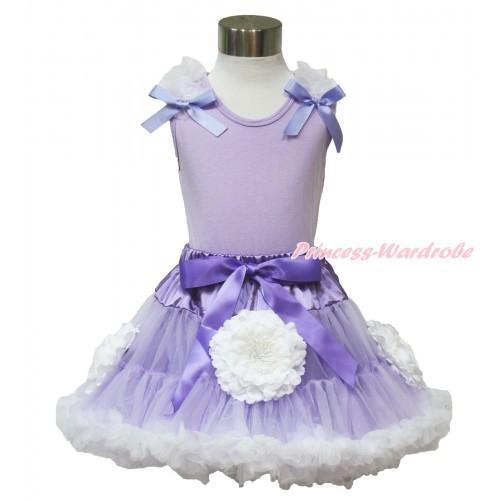 Princess Sofia Lavender Tank Tops White Ruffles Lavender Bow & Lavender White Peony Pettiskirt MN93