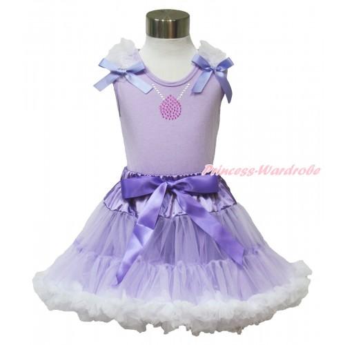 Princess Sofia Lavender Tank Top White Ruffles Lavender Bow & Sparkle Bling Rhinestone Necklace Print & Lavender White Pettiskirt MN94