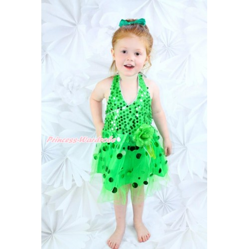 Kelly Green Halter Sparkle Sequins Dress up Dance Party Dress LP41