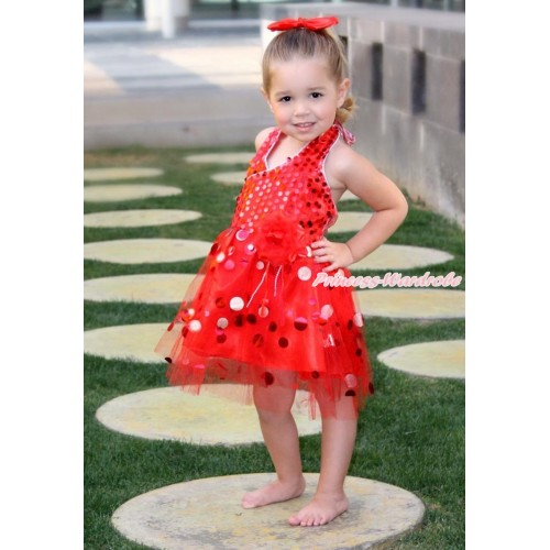 Hot Red Halter Sparkle Sequins Dress up Dance Party Dress LP42