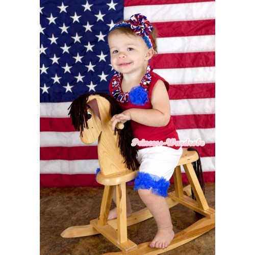 Red Tank Top With Red White Blue Striped Stars Satin Lacing & One Royal Blue Rose With White Cotton Short Pantie With Royal Blue Ruffles & Red White Blue Headband Red White Blue Striped Stars Rose P012