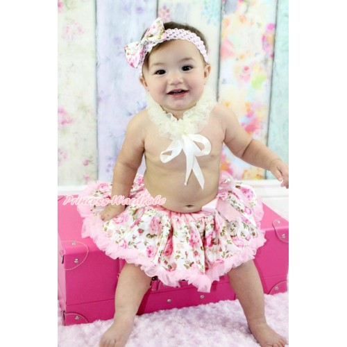 Cream White Chiffon Ruffle Ribbon Scarf & Light Pink Rose Fusion New Born Pettiskirt with Light Pink Headband Light Pink Rose Fusion Satin Bow RP01