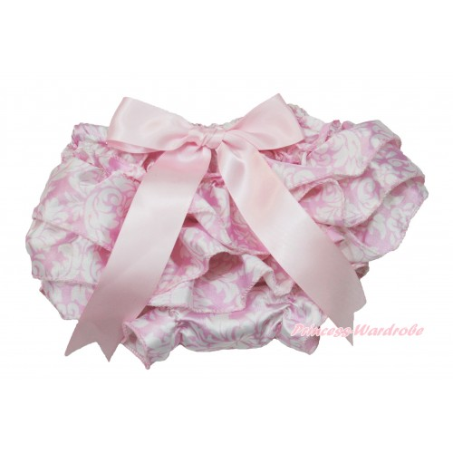 Light Pink White Damask Satin Layer Panties Bloomers With Light Pink Bow BC195