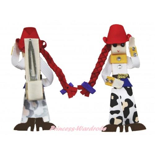 Cowgirl Handmade Doll Ribbon Hair Clip H862