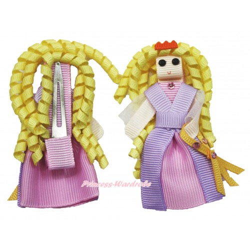 Princess Tangled Handmade Doll Ribbon Hair Clip H864