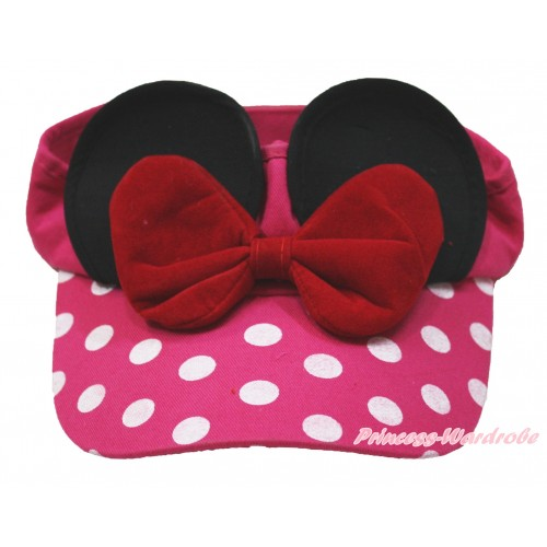 Red Bow Minnie Ear with Hot Pink White Dots Adjustable Summer Hat H874