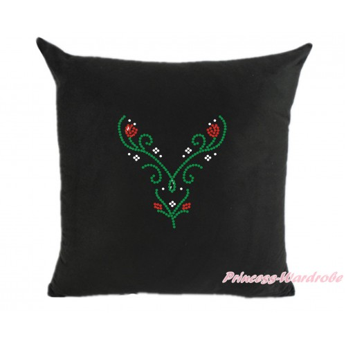 Black Home Sofa Cushion Cover with Sparkle Crystal Bling Rhinestone Princess Anna Print HG101