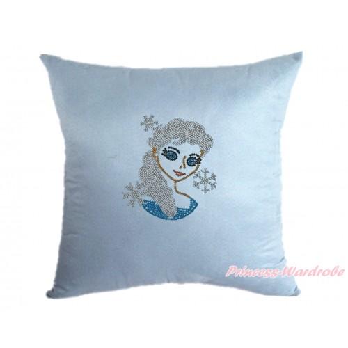 Light Blue Home Sofa Cushion Cover with Sparkle Crystal Bling Rhinestone Princess Elsa Print HG102